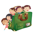 kids in a bag vector image vector image