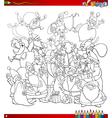 santa group coloring page vector image vector image