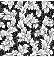 seamless baroque leaves black floral background vector image vector image