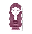 silhouette teenager with long wavy hair vector image