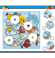 sea life match pieces game vector image