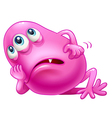 A bored three-eyed pink monster vector image vector image