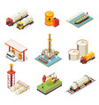 isometric oil industry set vector image