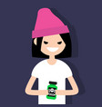 young angry female character holding a bottle vector image