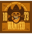 Gangster skull with cowboy hat and cigar vector image