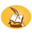 Book with quill pen and scroll vector image