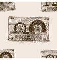 Audio cassette sketch seamless pattern vector image