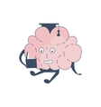 Brain In Square Hat Studying Comic Character vector image