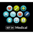 Flat icons set 34 - medical collection vector image