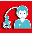 nurse woman and wheelchair isolated icon design vector image