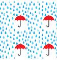 Rain drops and umbrella seamless pattern vector image