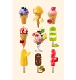 Set icons of ice cream vector image