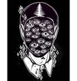 Portrait of a many eyed man with surreal face vector image