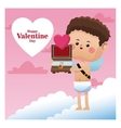 happy valentine day cupid giving wooden chest vector image