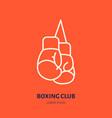 Boxing gloves line icon box club logo vector image