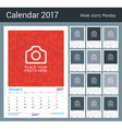 Wall Monthly Calendar Planner for 2017 Year 12 vector image