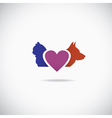 Background of a cat and a dog with a heart vector image