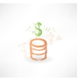 Brush money icon with dollar and coins vector image
