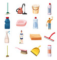 cleaning icons set detergents cartoon style vector image