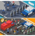 Demonstration Protest Riot 2 Isometric Banners vector image