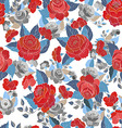 Seamless pattern white with red flowers vector image
