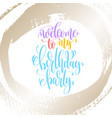 welcome to my birthday party - hand lettering on vector image