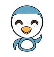 draw penguin animal comic vector image
