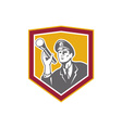 Security Guard With Flashlight Shield Retro vector image