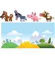 Farm landscape and animals vector image vector image