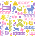 seamless pattern with icons for baby girl vector image vector image