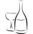 bottle and wineglass vector image