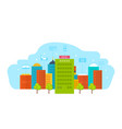 building is modern hotel with the surroundings vector image