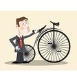 Business Man and Vintage Bike vector image