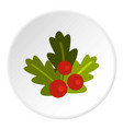 christmas berries icon circle vector image