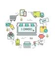 Color e-commerce web design concept Line icons vector image