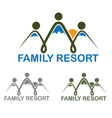 family resort emblem with mountains and sun vector image