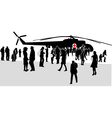 military mass rally silhouette vector image