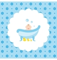 Happy baby in the bath with a rubber ducks vector image