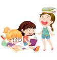 Three girls reading books together vector image vector image