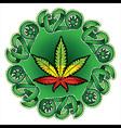 jamaican color cannabis marijuana leaf symbol vector image