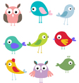cute bird cartoon set vector image