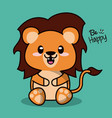 color background with cute kawaii animal lion with vector image