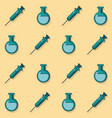 colorful background with pattern of syringes and vector image