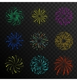 Colorful festive firework balls sparklers salute vector image