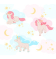 cute little unicorns with pink and blue hair vector image