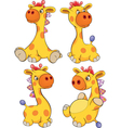 Set of toy giraffes cartoon vector image