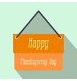 Signboard thanksgiving flat icon with shadow vector image