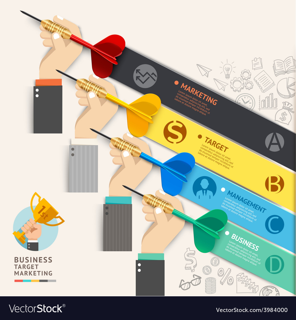Business hand with dart and doodles icons vector