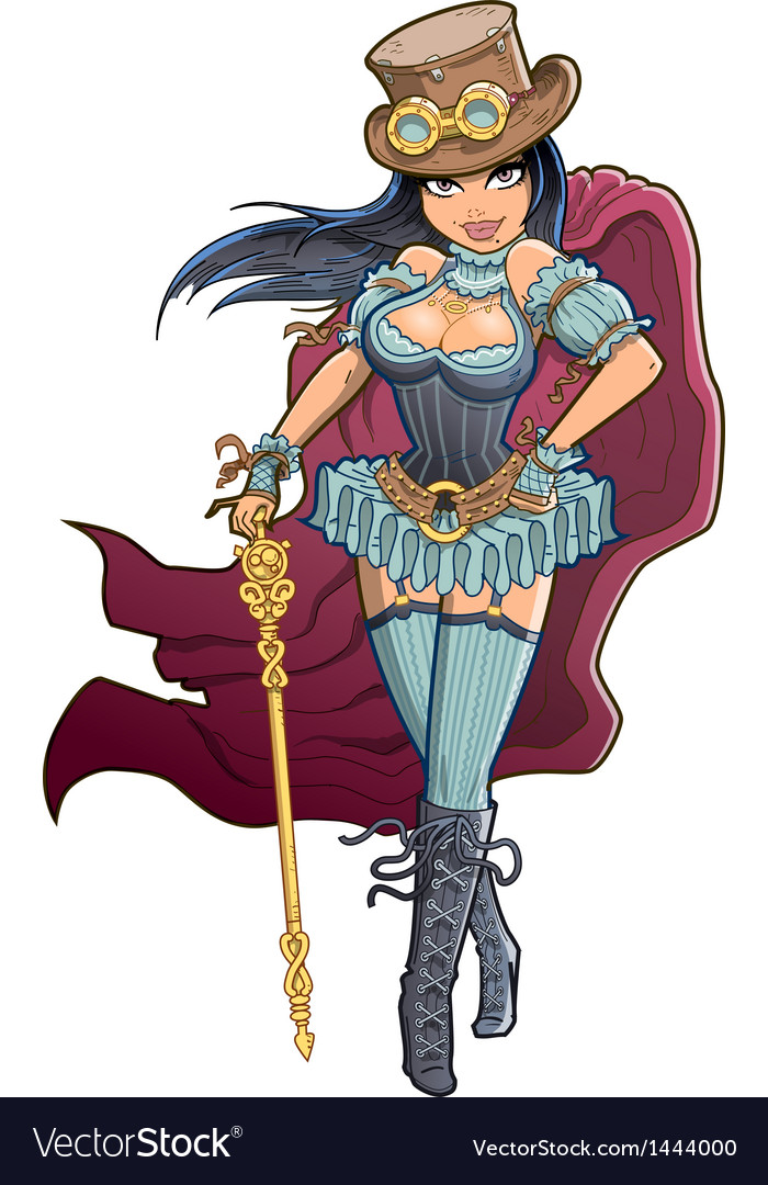 Sexy victorian steampunk woman vector