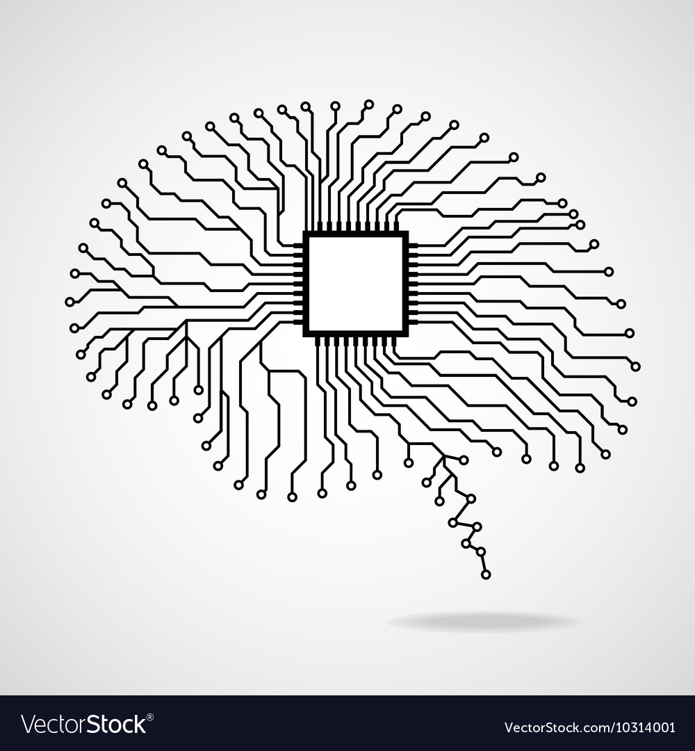 Brain cpu circuit board vector